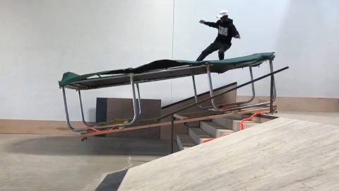 SKATING A TRAMPOLINE DOWN STAIRS | SKATE EVERYTHING EP   Braille  Skateboarding