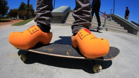 SKATING IN DUTCH WOODEN CLOGS! - Braille Skateboarding