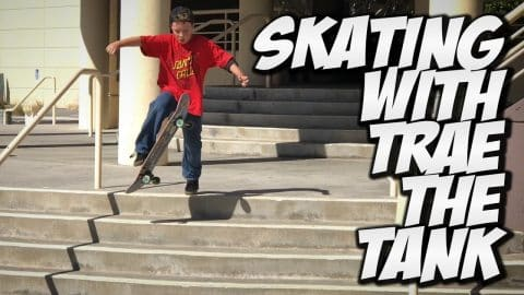 SKATING WITH TRAE THE TANK !!! - A DAY WITH NKA - - Nka Vids Skateboarding