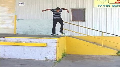 """Texalona"" Dominique Goings kickflip backside lipslide big hand rail 
