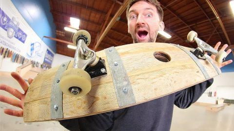 THE INCREDIBLE WINE BARREL SKATEBOARD! | YOU MAKE IT WE SKATE IT EP 163 - Braille Skateboarding