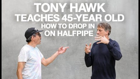 Tony Hawk Teaches 45-Year-Old How To Drop In On Halfpipe | The Berrics