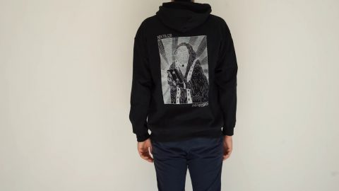 VHS MARY BACKPRINT HOODIE BLACK VINTAGE PRINT | NOSTALGIA SKATEBOARDS