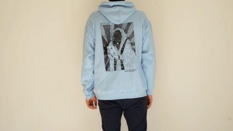 VHS MARY BACKPRINT HOODIE LIGHT BLUE | NOSTALGIA SKATEBOARDS