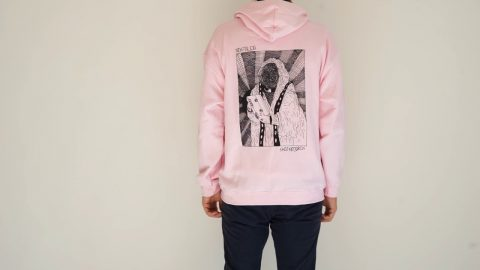 VHS MARY BACKPRINT HOODIE SOFTPINK | NOSTALGIA SKATEBOARDS