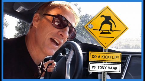 "Watch Legend Tony Hawk Yelling ""Do A Kickflip!"" At Skateboarders From His Car 