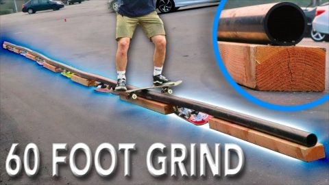 WE BUILT A 60FT DIY SKATE RAIL! | Braille Skateboarding