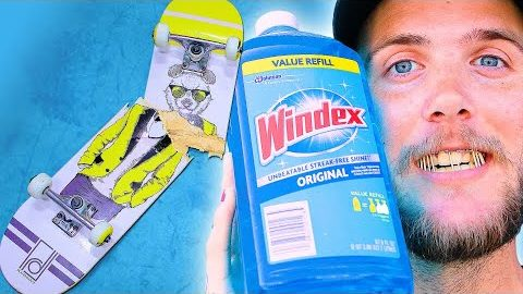 WE SOAKED A SKATEBOARD IN WINDEX FOR 24 HOURS! | SKATE EXPERIMENTS EP. 18 | Braille Skateboarding
